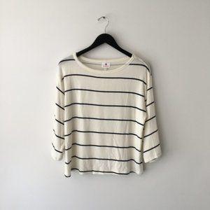 Anthropologie Sundry Cream Striped Sweatshirt